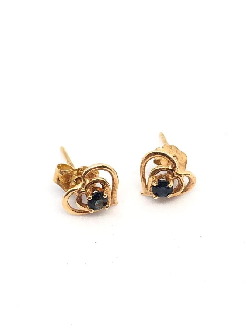 Pair of 14K Rose Gold Heart Stud Earrings