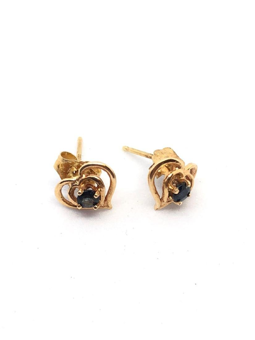 Pair of 14K Rose Gold Heart Stud Earrings - 2