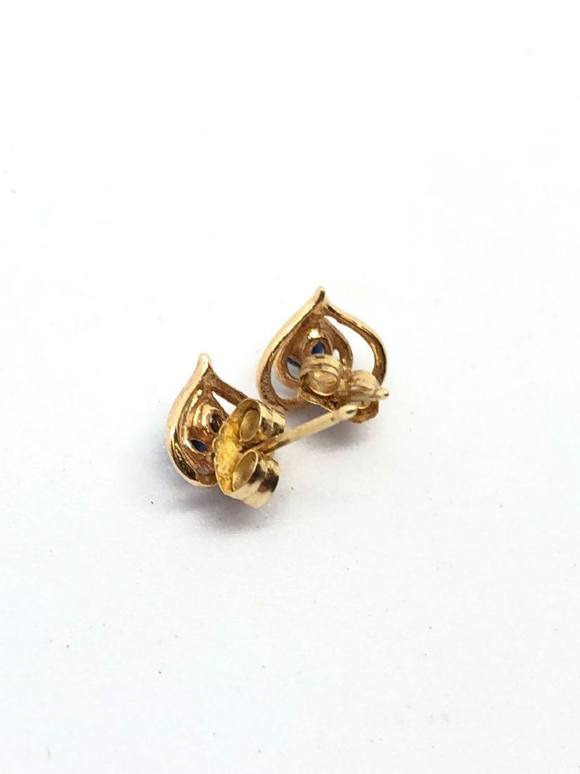 Pair of 14K Rose Gold Heart Stud Earrings - 3