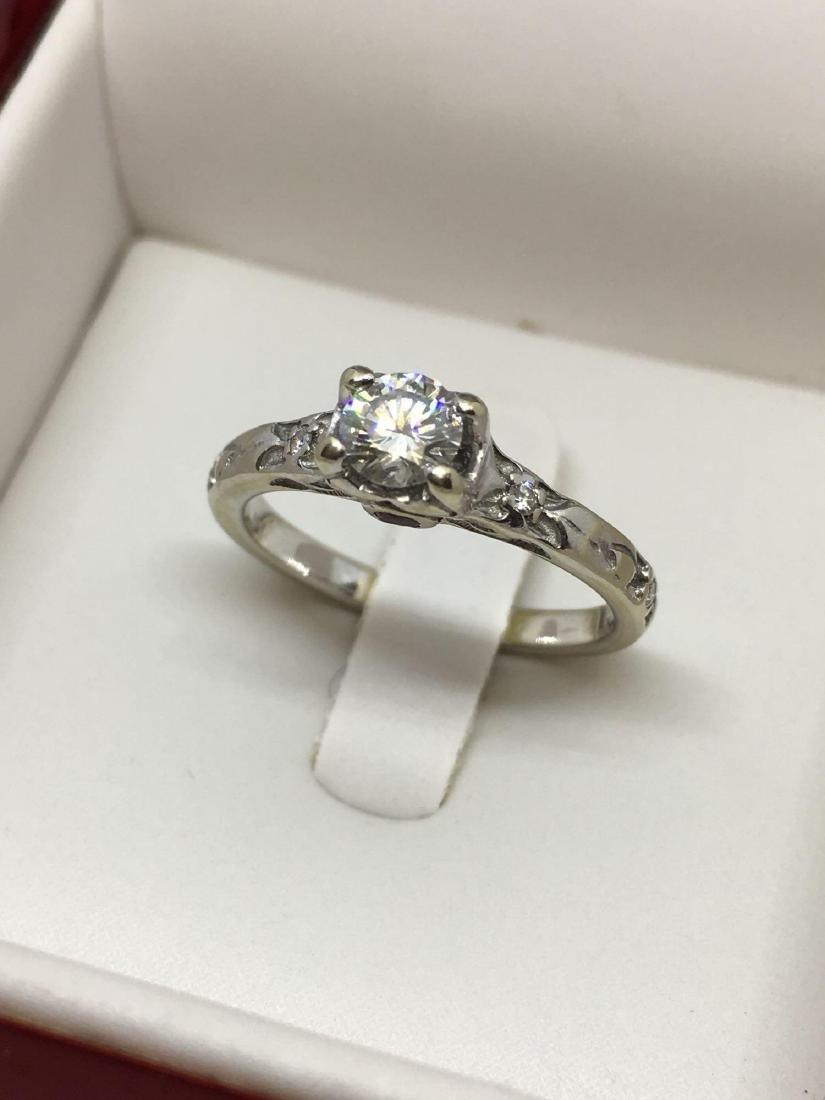 14k White Gold .33 Carat Natural Diamond Engagement