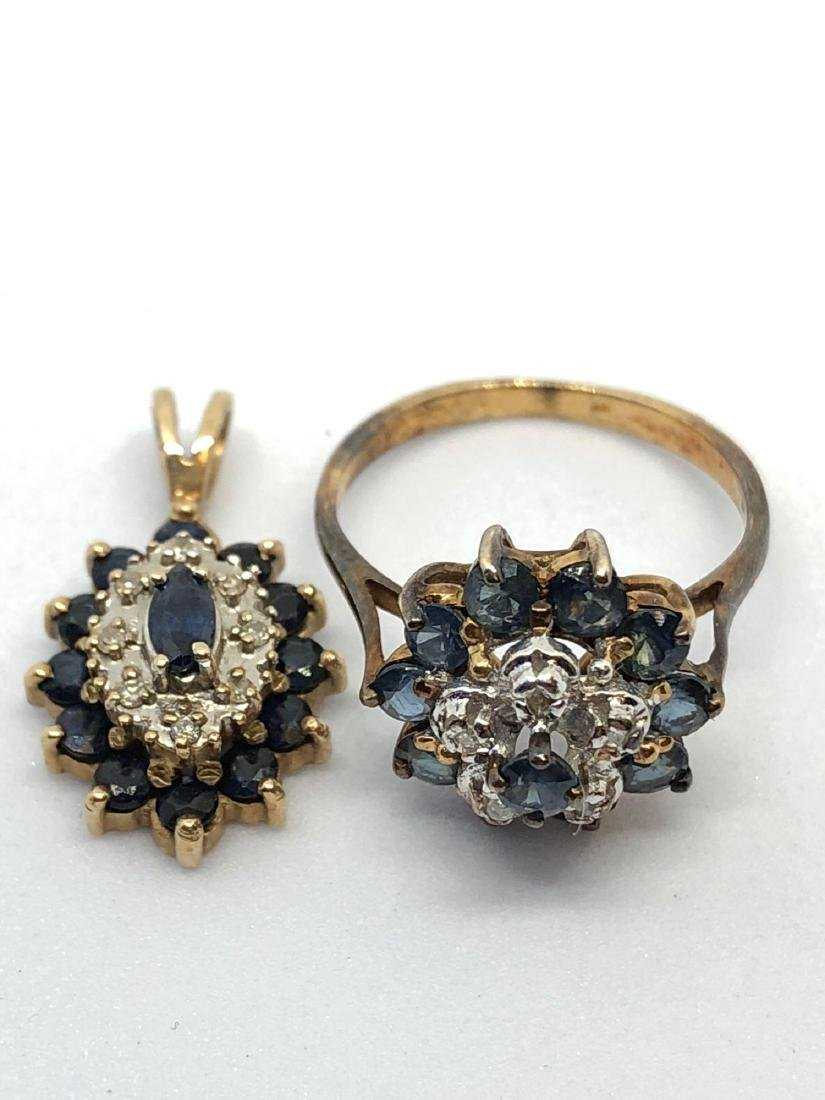 10k Gold Pendant & Ring Lot with Blue Gems