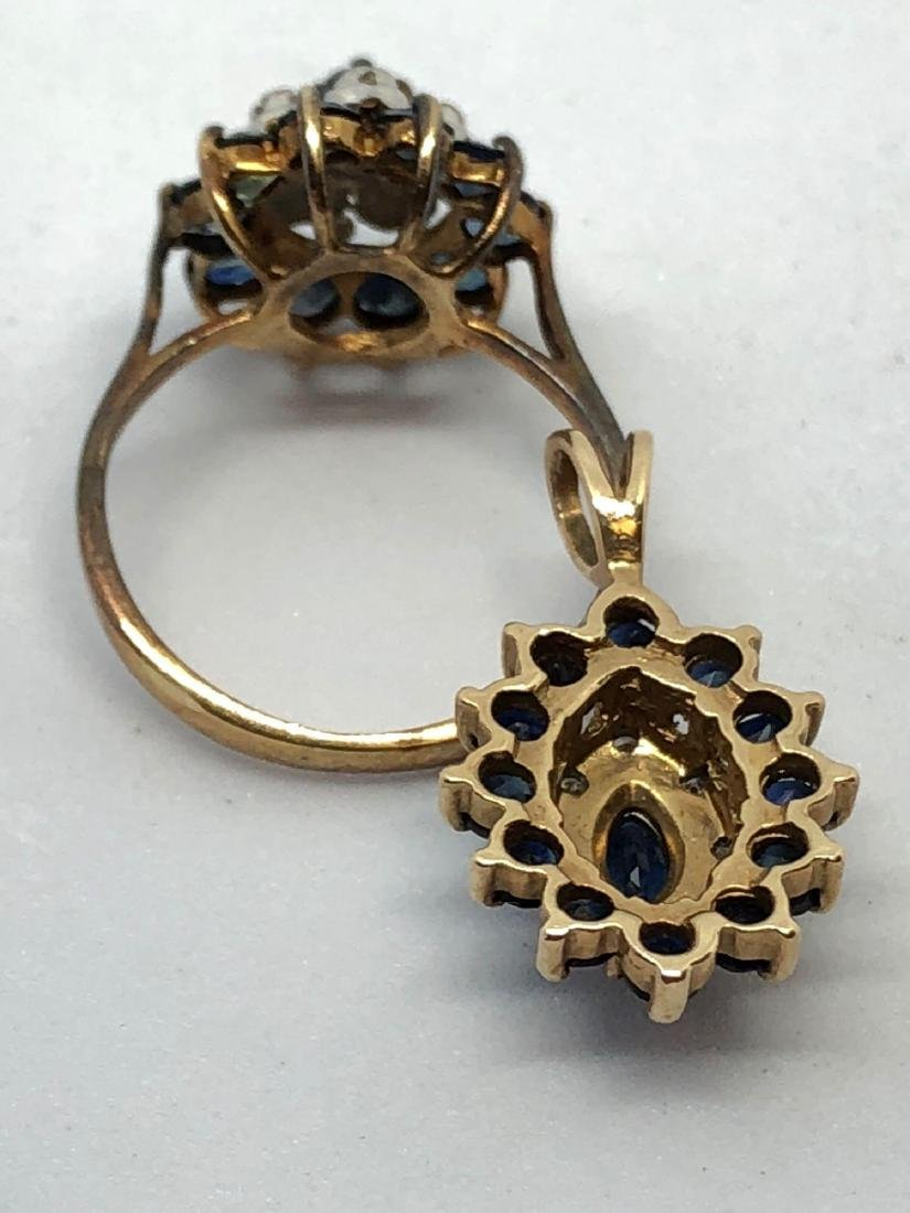 10k Gold Pendant & Ring Lot with Blue Gems - 2