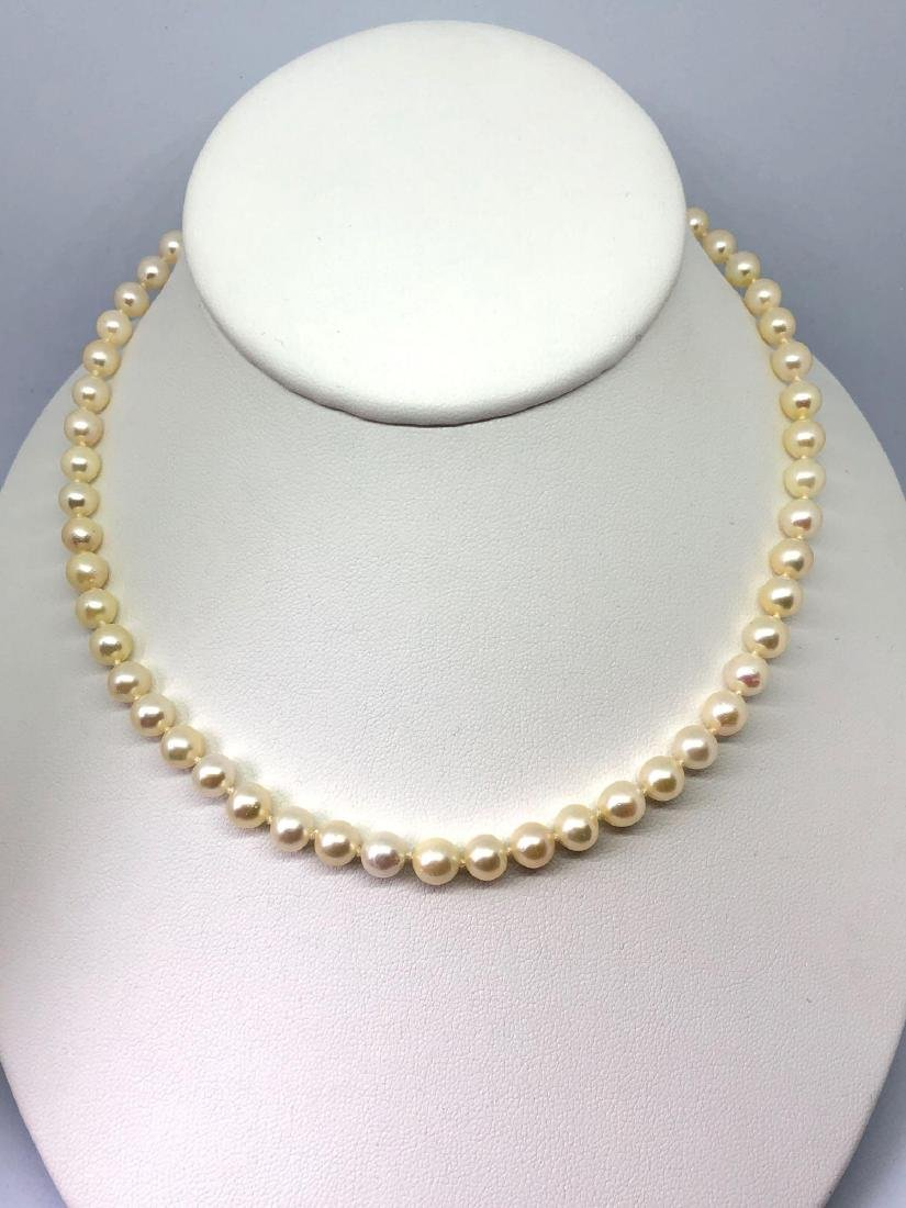 Lot of One Strand of Pearls with 14K Gold Clasp