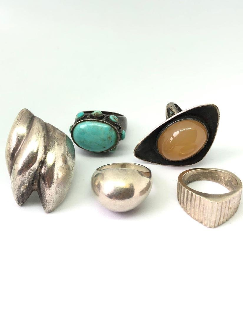 Lot of Five Mexican Sterling Silver Statement Rings