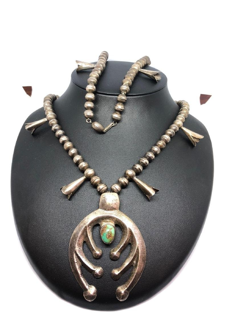 Sterling Silver and Turquoise Squash Bloosom Necklace