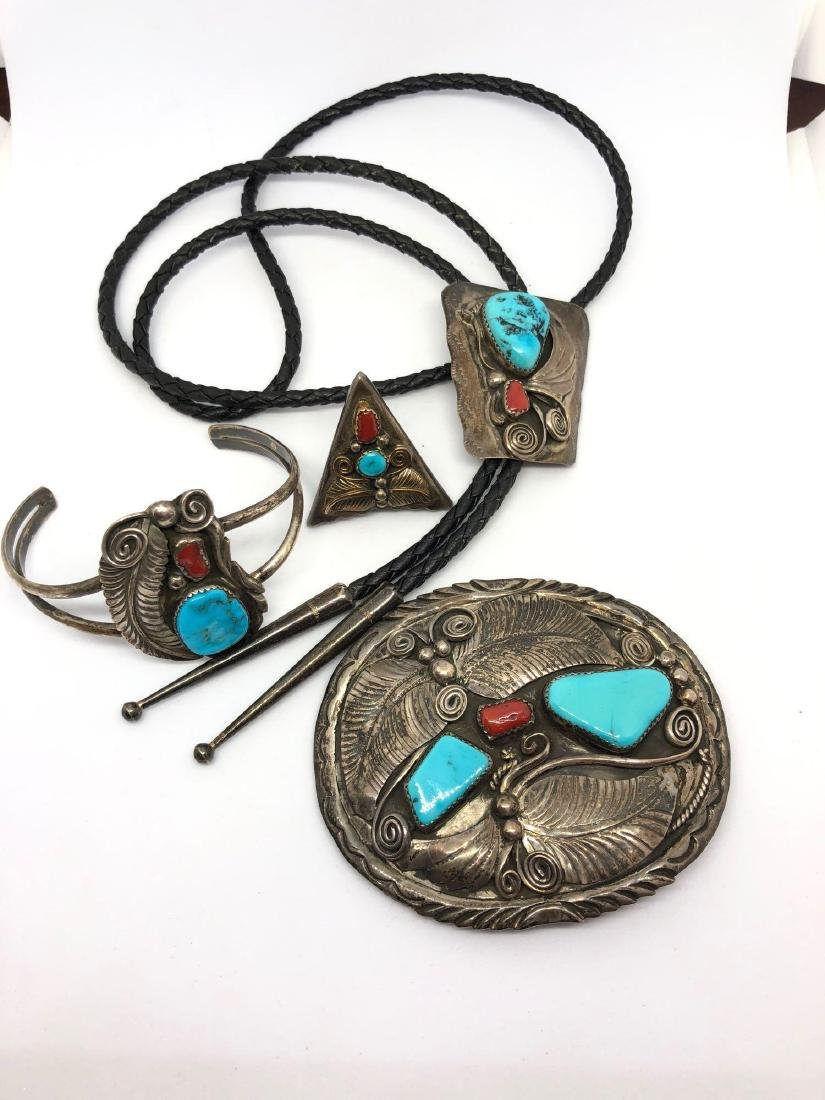 Lot of Four Sterling Silver and Turquoise Apparel