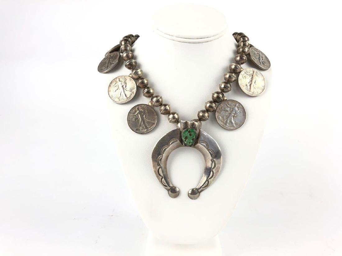 Sterling Silver and Turquoise Squash Blossom Walking
