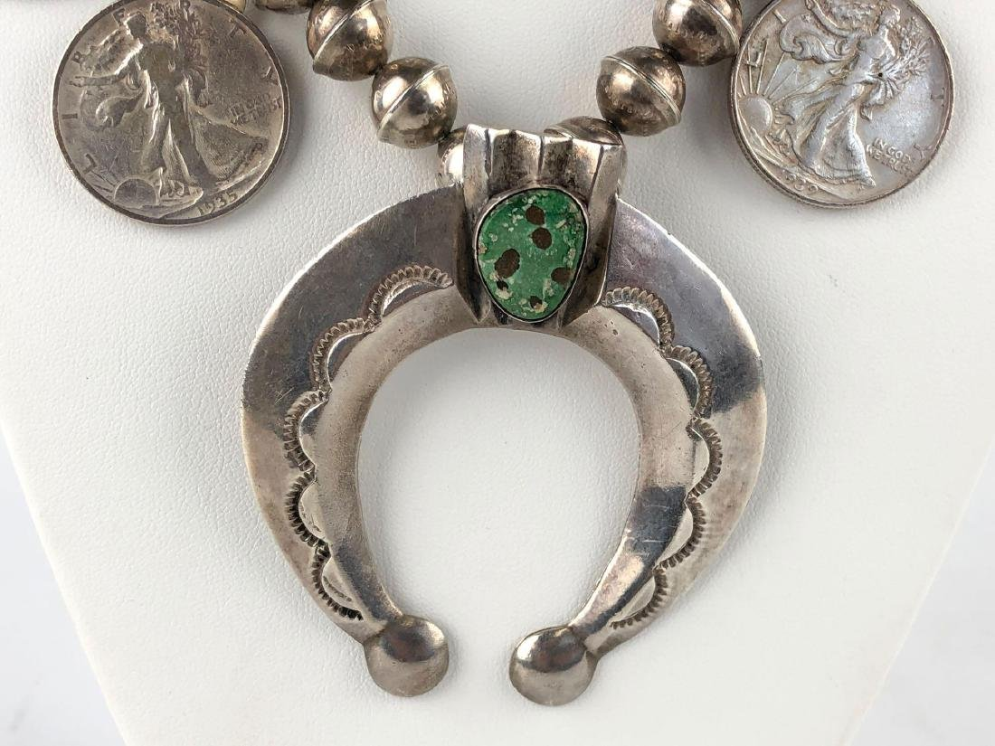 Sterling Silver and Turquoise Squash Blossom Walking - 2