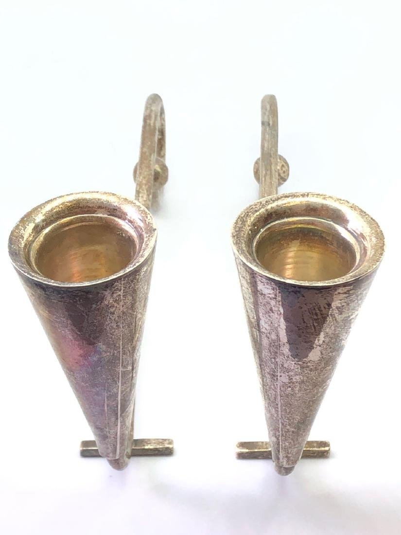 Lot of Two Sterling Silver Artist Signed Candlesticks