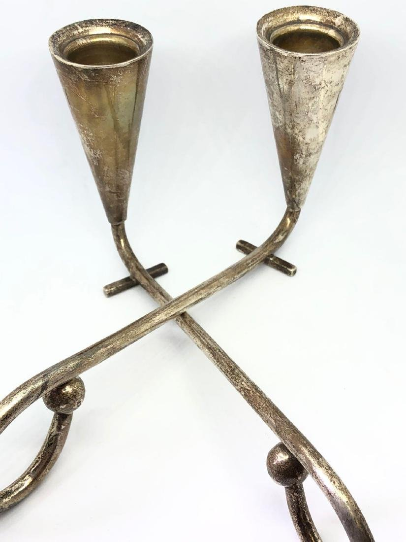 Lot of Two Sterling Silver Artist Signed Candlesticks - 3
