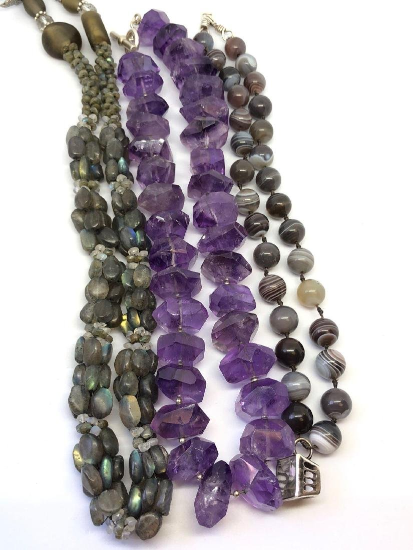 Three Necklaces, Amethyst, Purple Malachite,