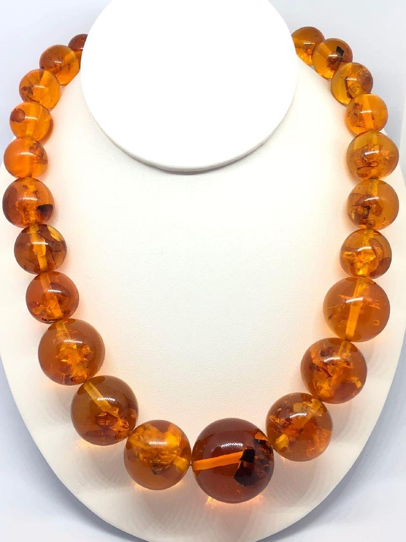 Lot of One Baltic Honey Amber Beaded Necklace