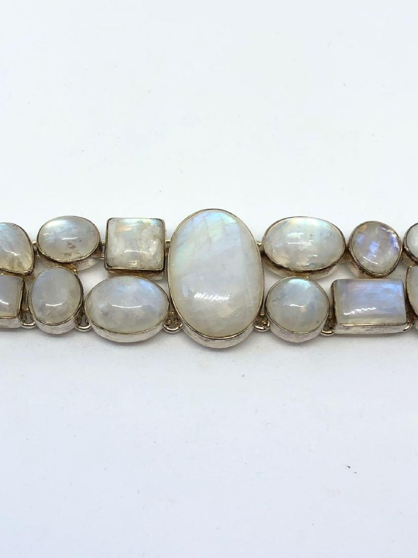 Lot of One Sterling Silver and Moonstones Bracelet with - 2