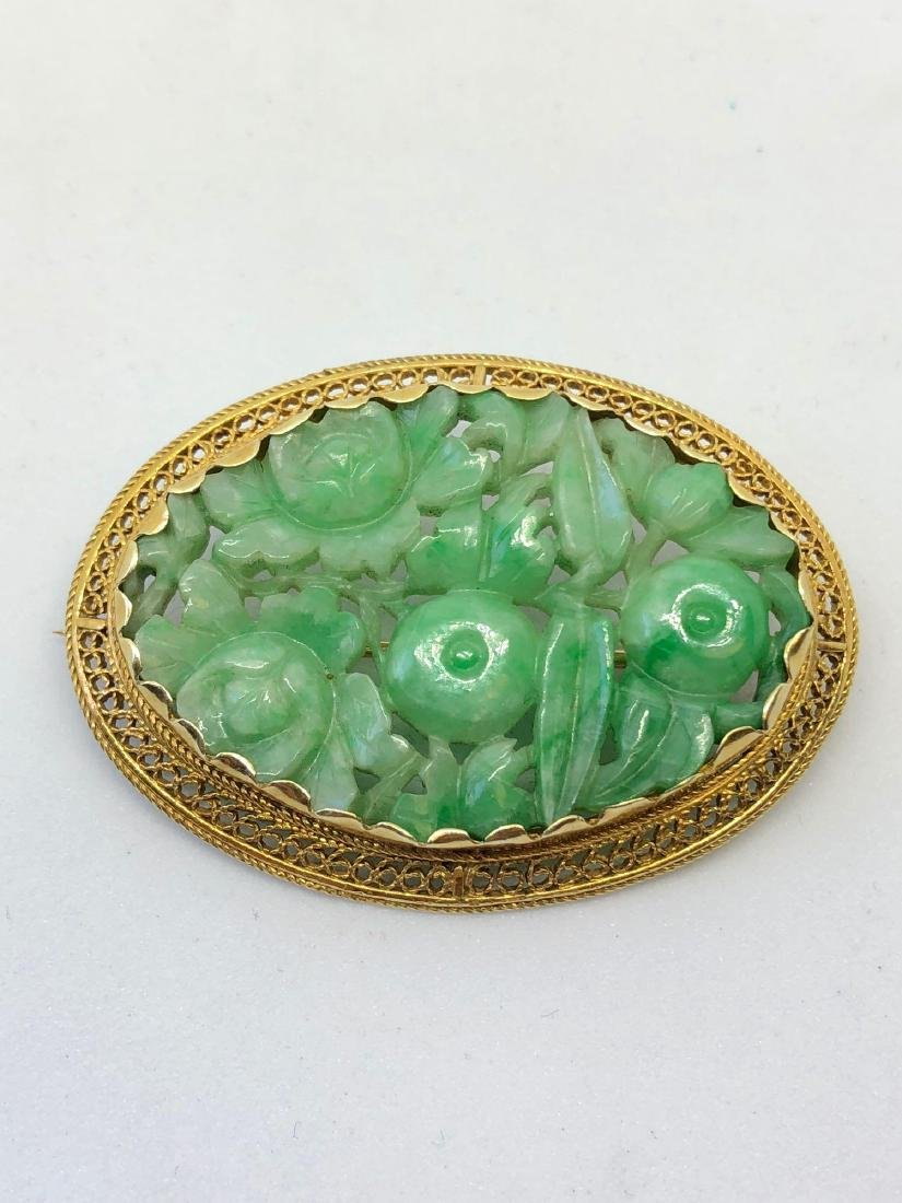 Lot of One Carved Jade Brooch in 14K Yellow Gold