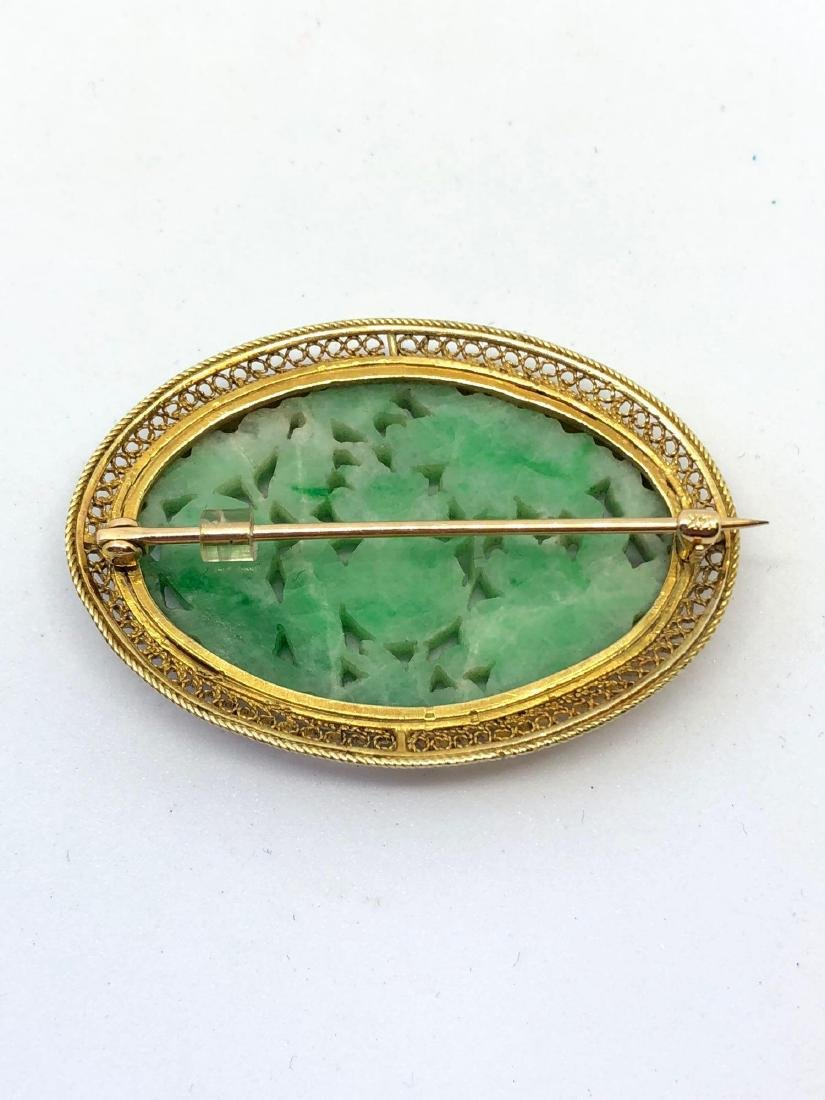 Lot of One Carved Jade Brooch in 14K Yellow Gold - 2