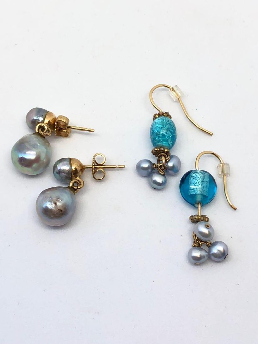 Lot of Two Pair Genuine Pearl Earrings