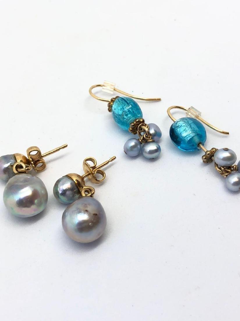 Lot of Two Pair Genuine Pearl Earrings - 2