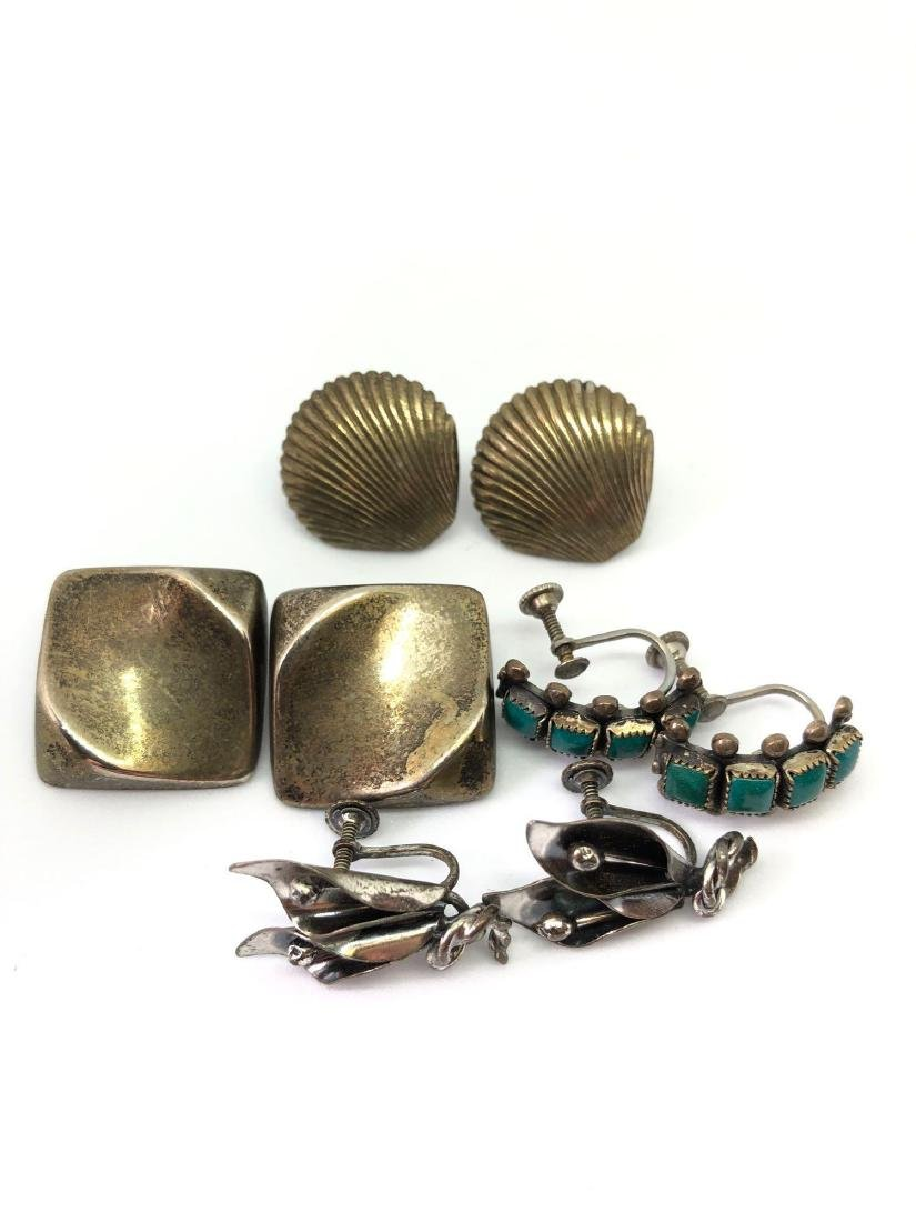 Lot of Four Pairs of Sterling Silver Earrings