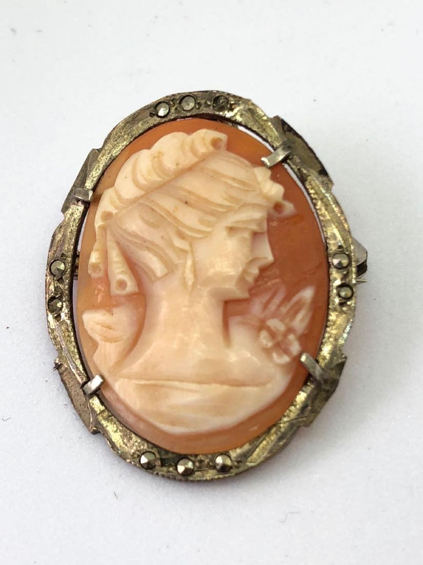 Lot of One Antique Silver Cameo Pin