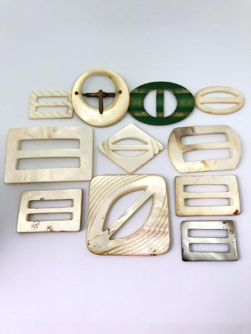 Lot of Vintage Abalone and Bakelite Buckles