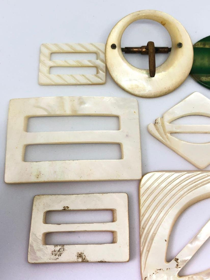 Lot of Vintage Abalone and Bakelite Buckles - 2