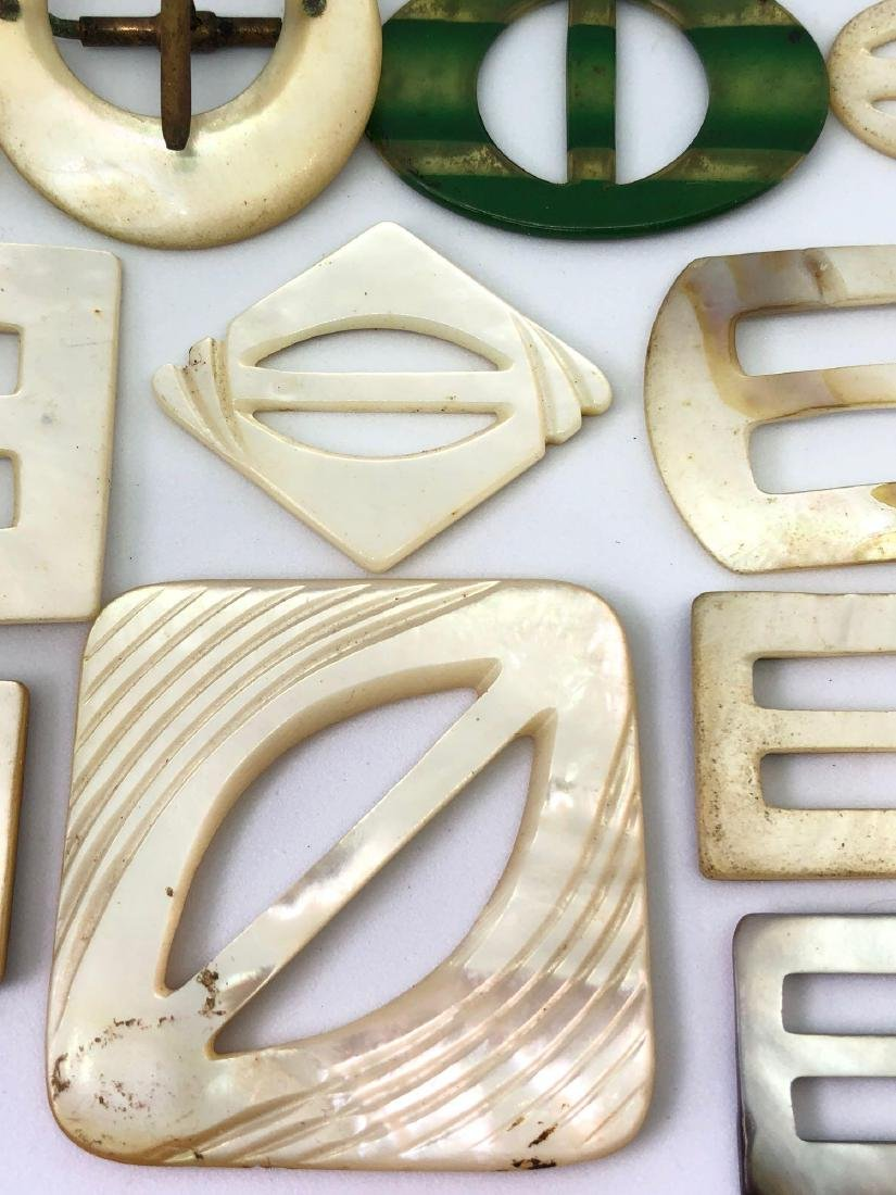 Lot of Vintage Abalone and Bakelite Buckles - 3