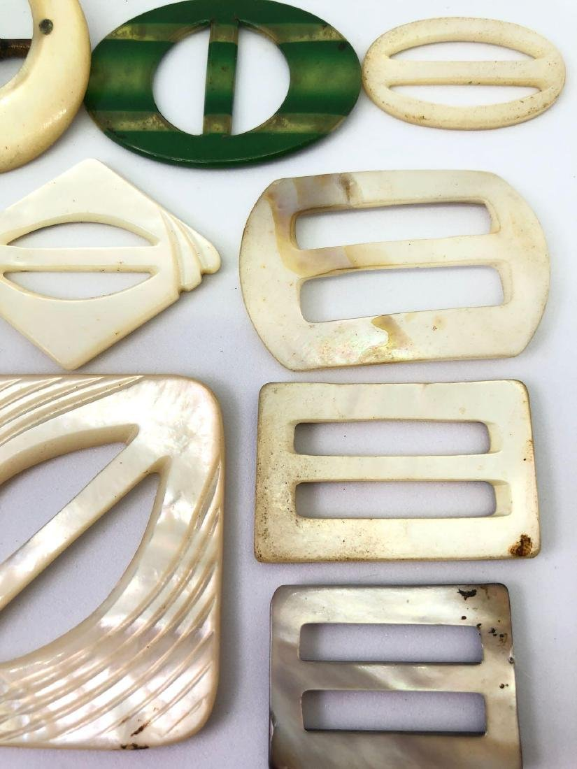 Lot of Vintage Abalone and Bakelite Buckles - 4