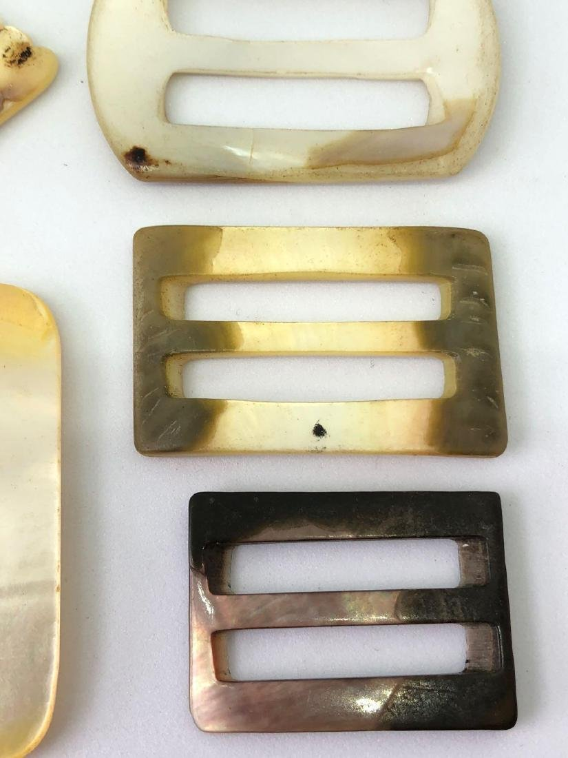 Lot of Vintage Abalone and Bakelite Buckles - 8