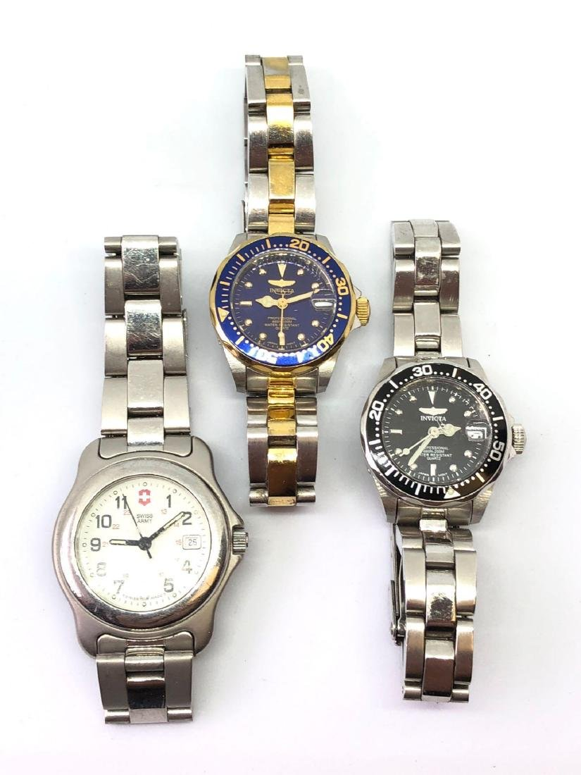 Lot of Three Ladies Watches by Invicta and Swiss Army