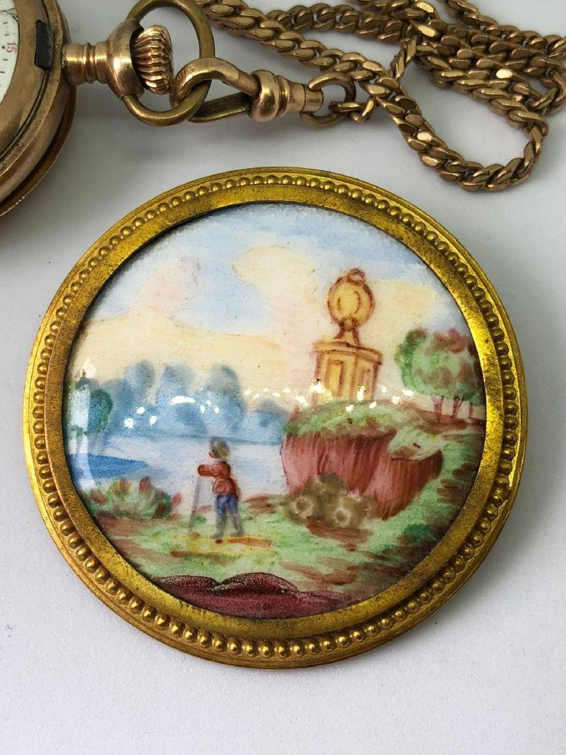 Lot of One Handpainted Brooch and One Elgin Pocket - 2