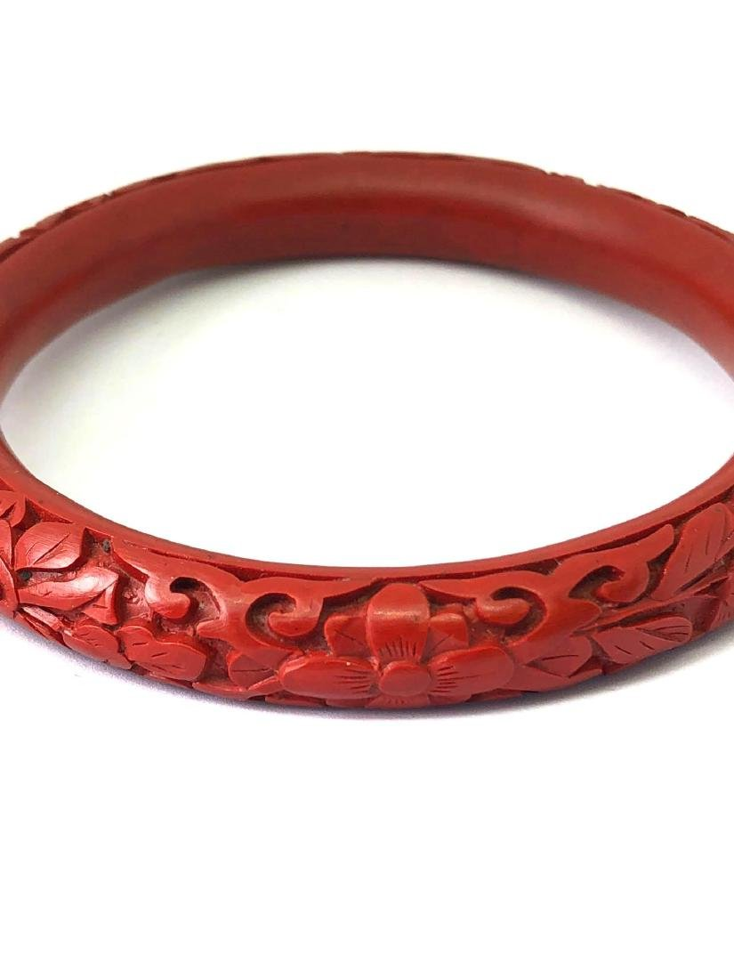 Lot of One Vintage Carved Cinnabar Bangle Bracelet - 3