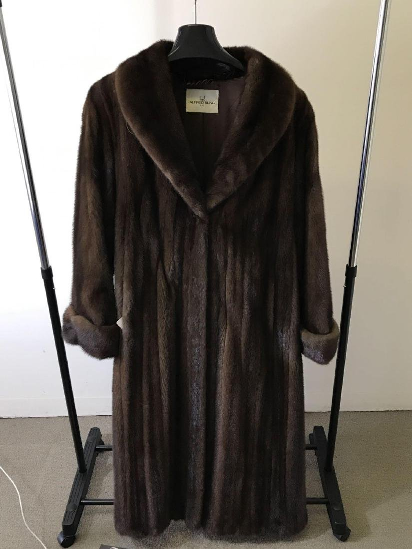Alfred Sung Mahogany Mink Full-Length Fur Coat