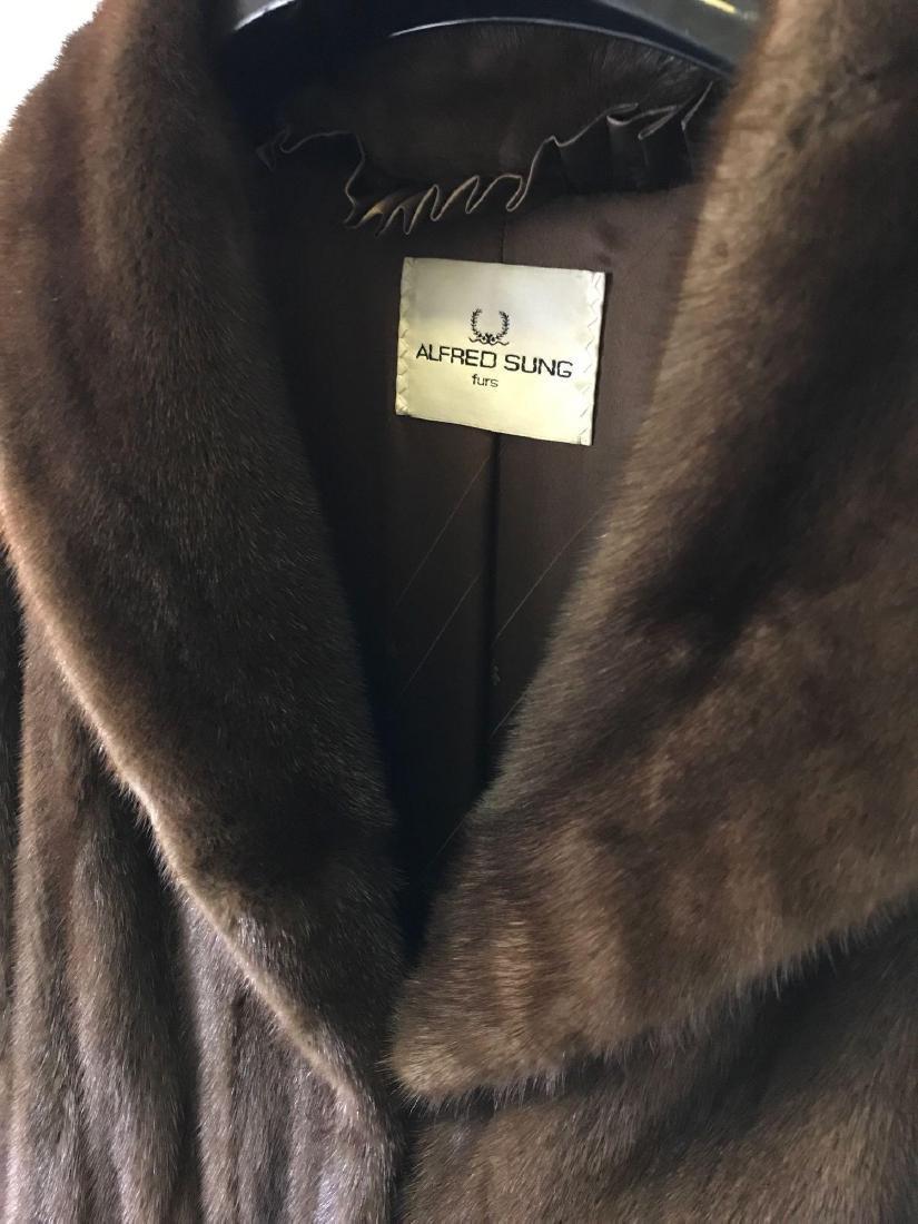 Alfred Sung Mahogany Mink Full-Length Fur Coat - 2