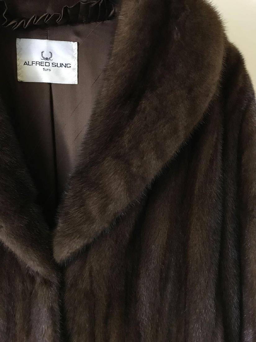 Alfred Sung Mahogany Mink Full-Length Fur Coat - 4
