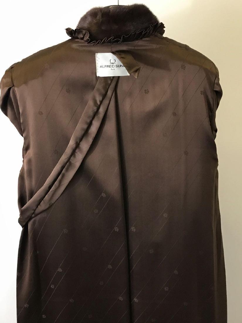 Alfred Sung Mahogany Mink Full-Length Fur Coat - 5