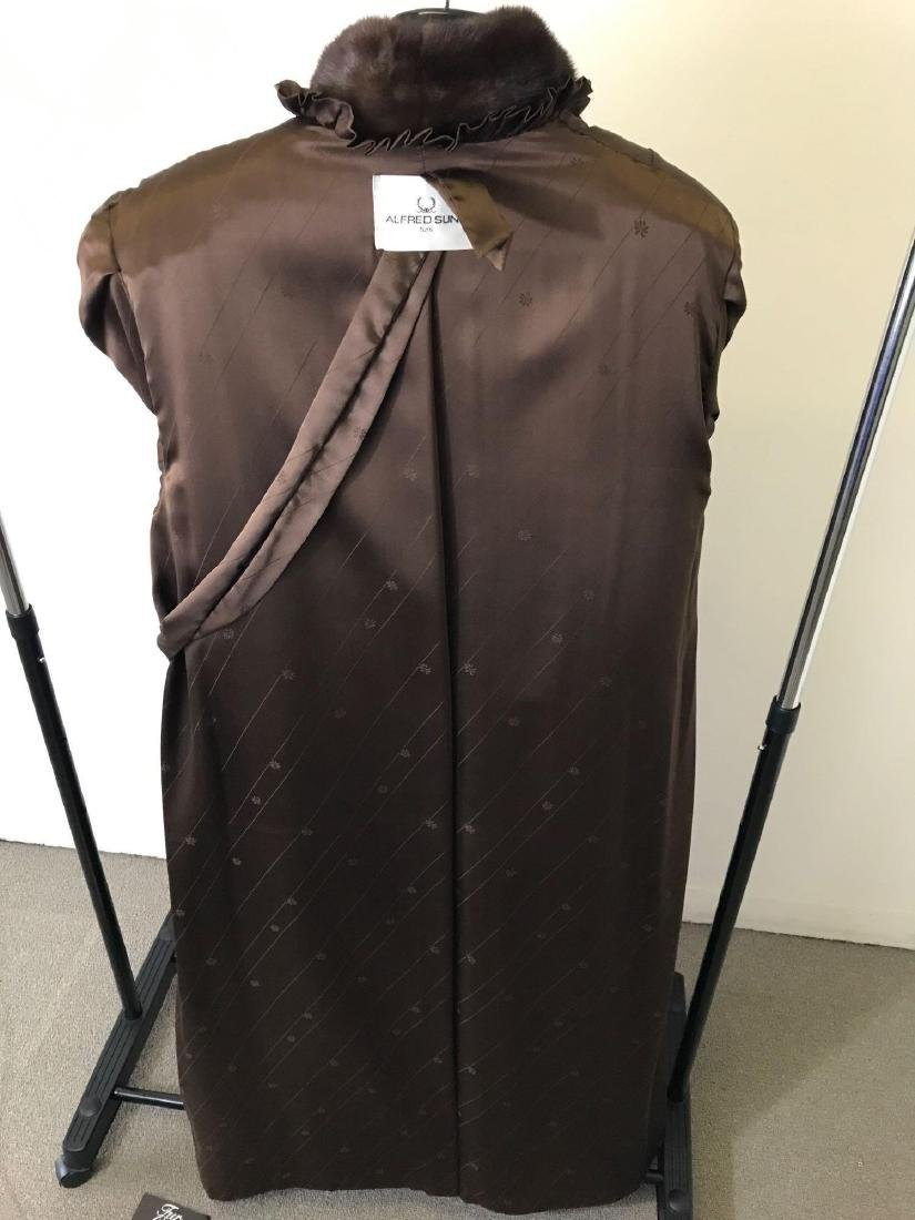 Alfred Sung Mahogany Mink Full-Length Fur Coat - 6