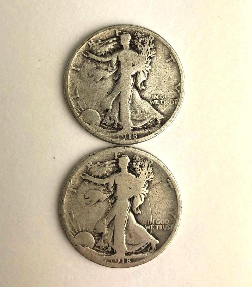 Lot of Two 1918 Walking Liberty Half Dollars