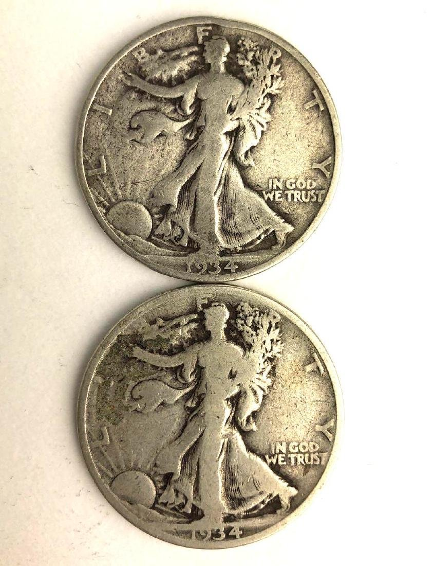 Lot of Two 1934 Walking Liberty Half Dollars
