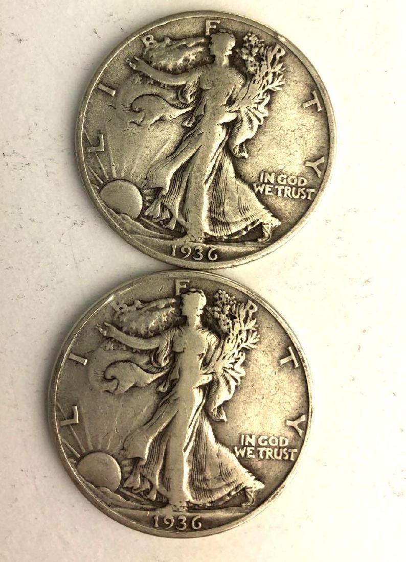 Lot of Two 1936 Walking Liberty Half Dollars