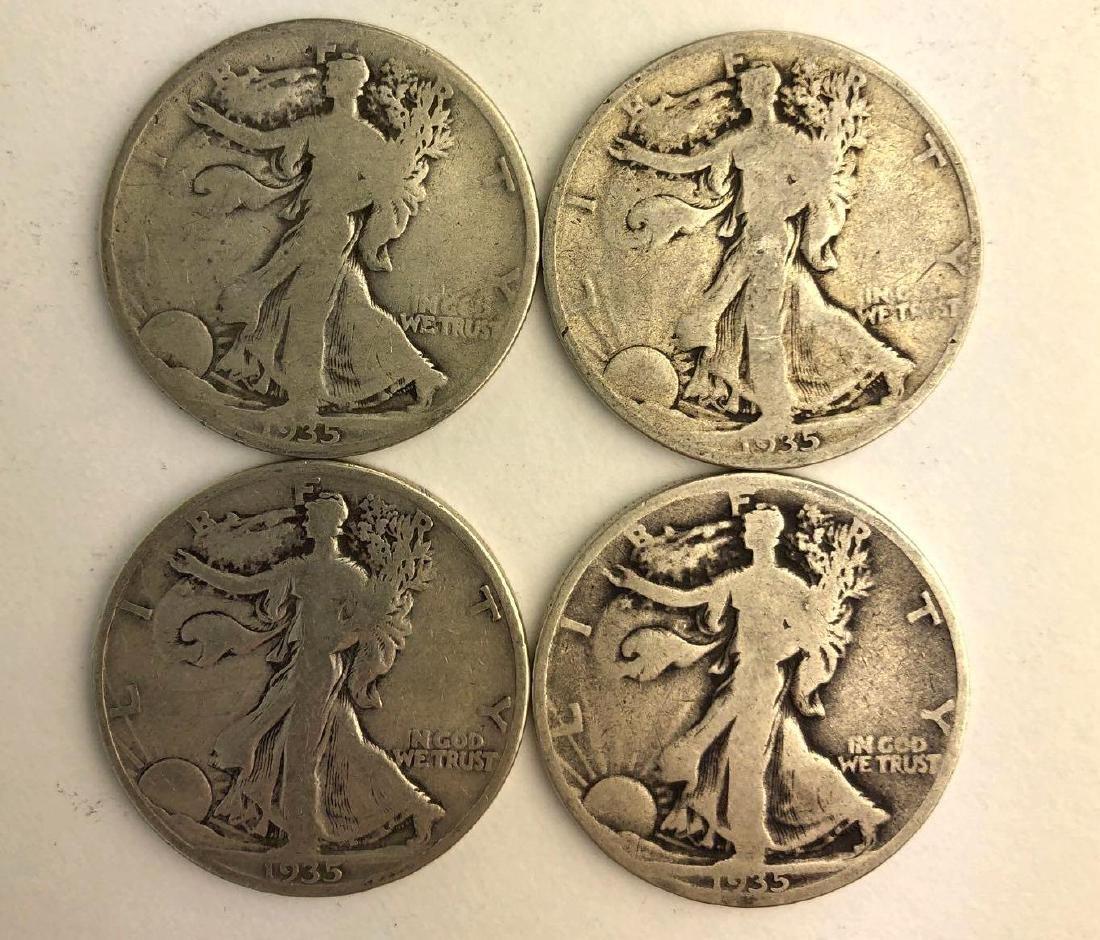 Lot of Four 1935 Walking Liberty Half Dollars