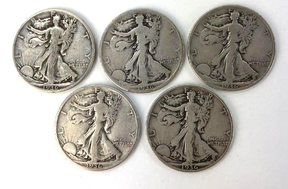 Lot of Five 1936 Walking Liberty Half Dollars