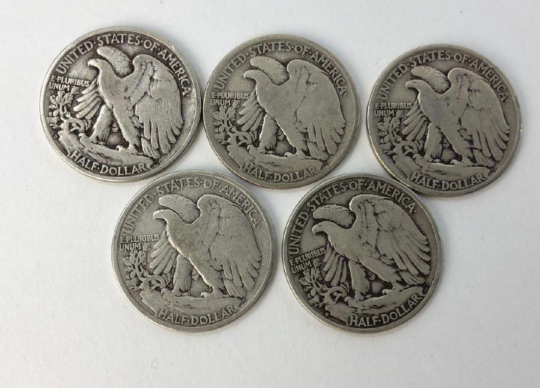Lot of Five 1936 Walking Liberty Half Dollars - 2