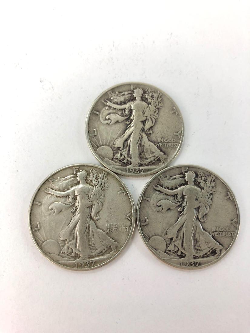 Lot of Three 1937 Walking Liberty Half Dollars