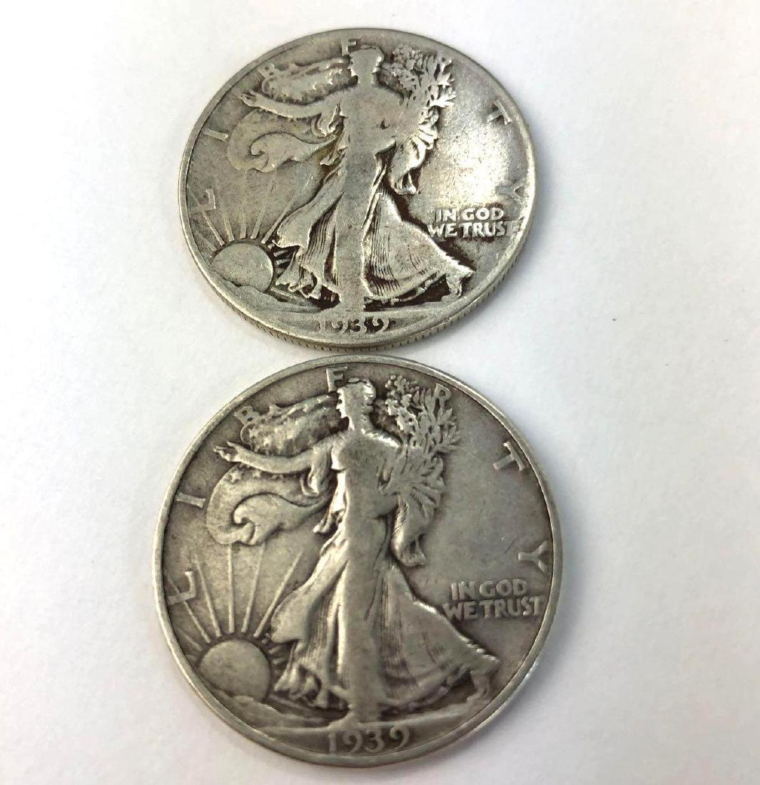 Lot of Two 1939 Walking Liberty Half Dollars