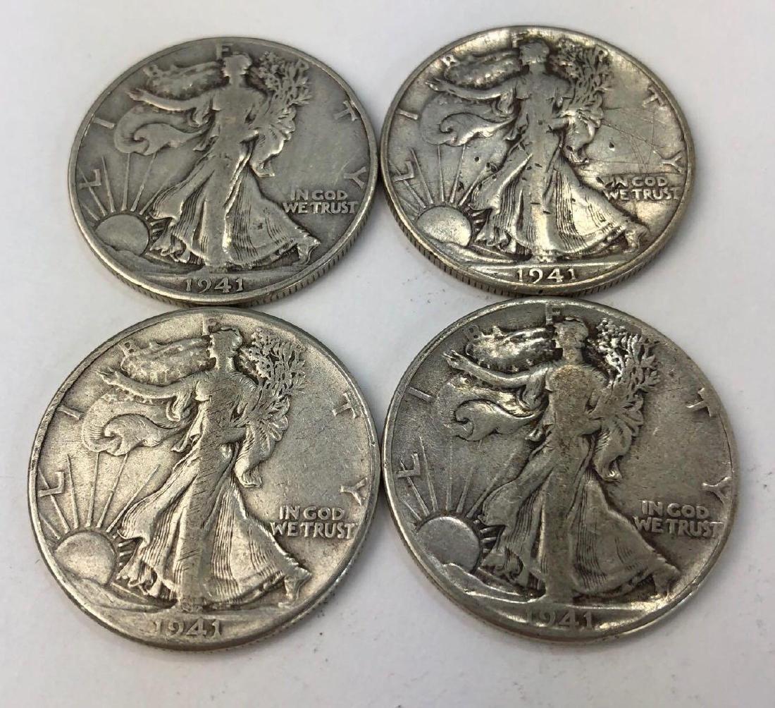 Lot of Four 1941 Walking Liberty Half Dollars