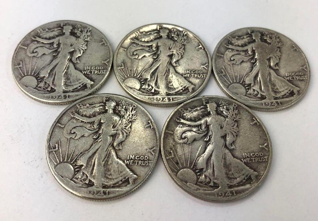 Lot of Five 1941 Walking Liberty Half Dollars
