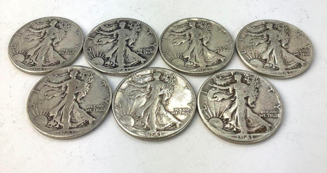 Lot of Seven 1941 Walking Liberty Half Dollars