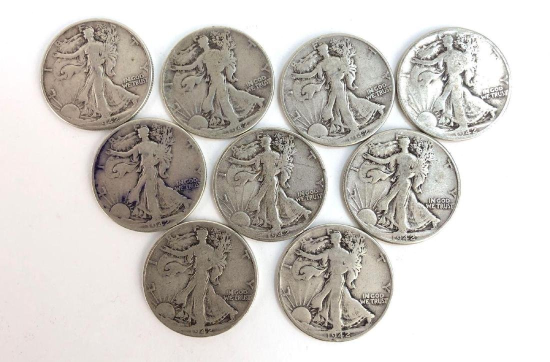 Lot Of Nine 1942 Walking Liberty Half Dollars