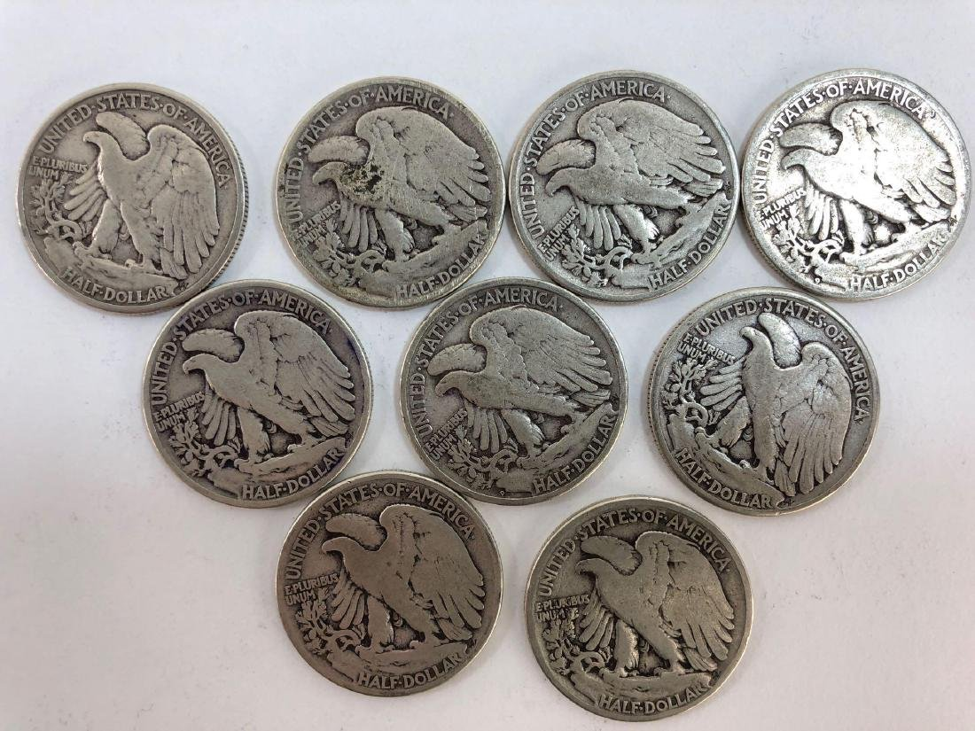 Lot Of Nine 1942 Walking Liberty Half Dollars - 3