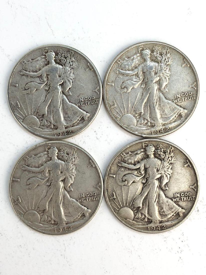Lot Of Four 1942 Walking Liberty Half Dollars